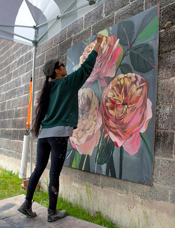 Louise Jones painting mural
