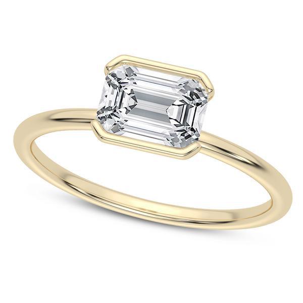 LovBe half bezel emerald cut engagement ring
