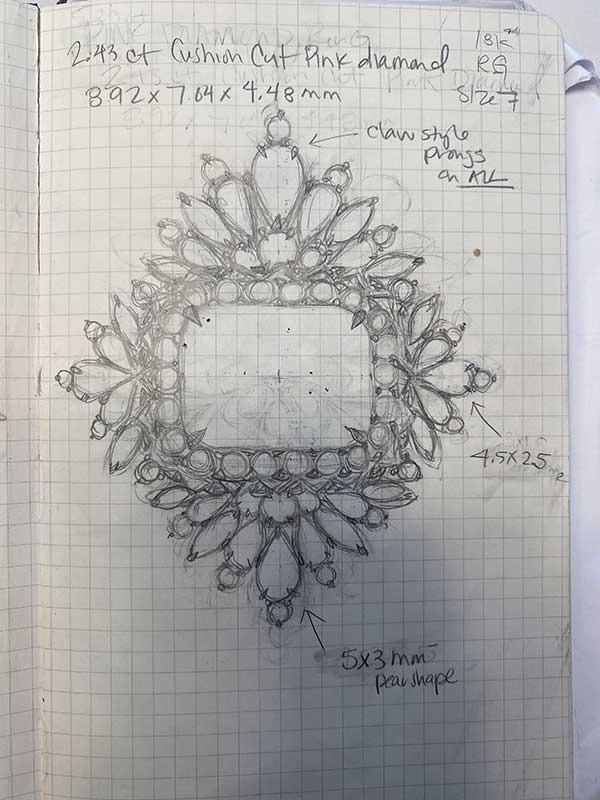 Maggi Simpkins in bloom ring sketch