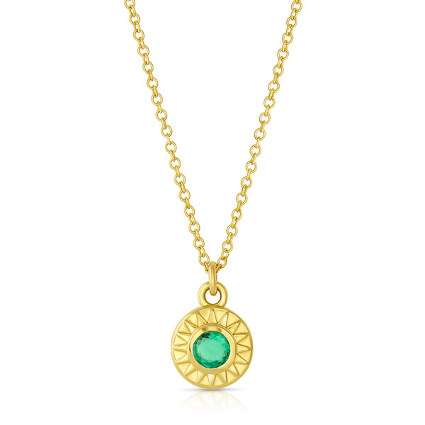 Mazahri emerald Sunburst pendant