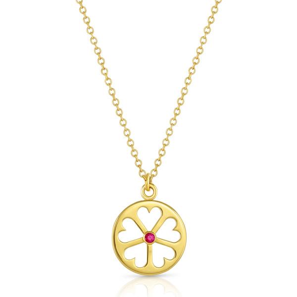 Mazaahri ruby heart wheel pendant