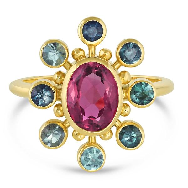 Mazahri tourmaline Cosmos ring