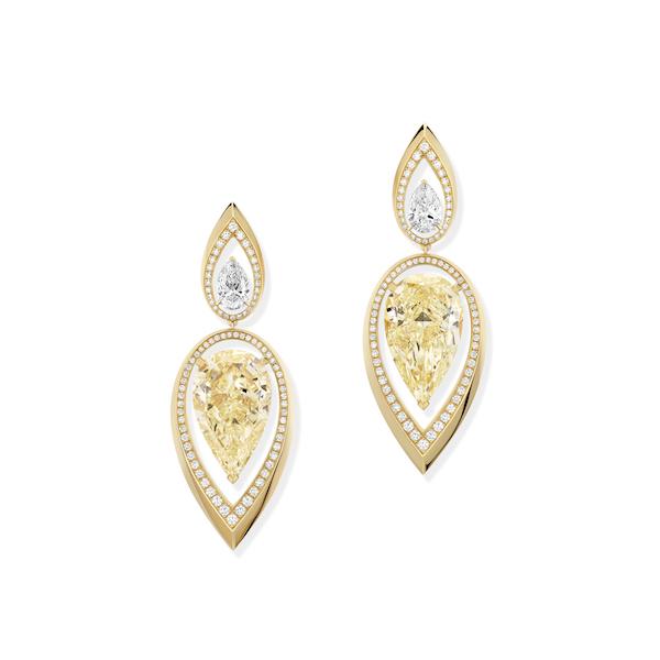 Messika Paris yellow diamond pear drop earrings