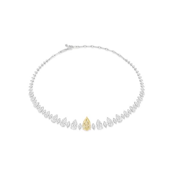 Messika pear yellow diamond necklace