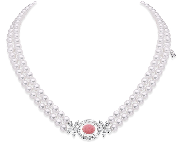 Mikimoto double akoya strand with conch pearl and diamond