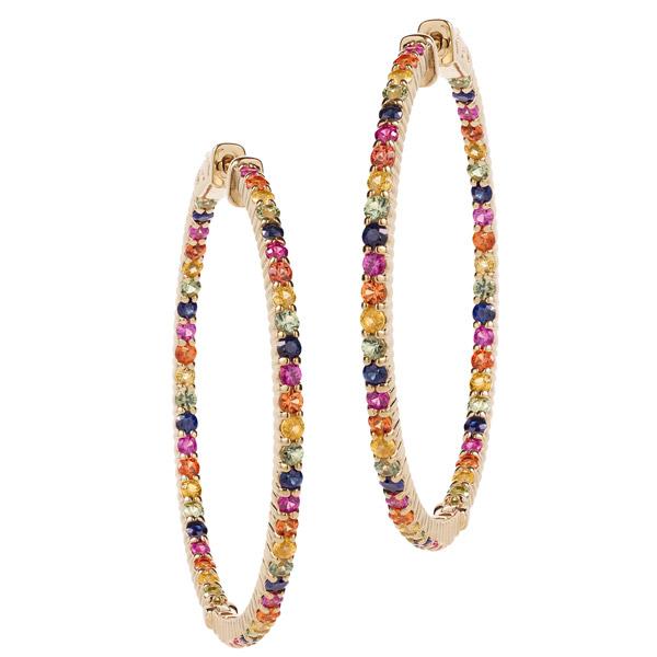 Misahara rainbow sapphire hoop earrings