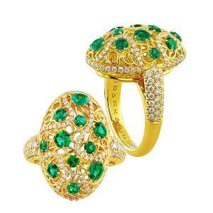 Rafka Dreamcatcher ring with emeralds