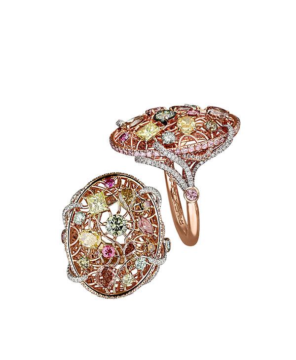 Rafka dreamcatcher multi color diamond ring