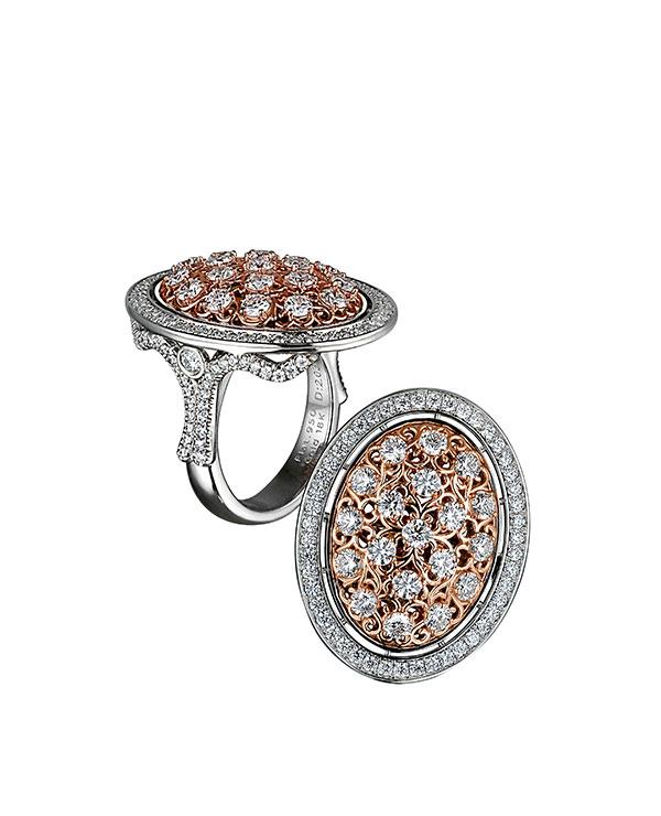 Rafka dreamcatcher ring rose gold and diamonds