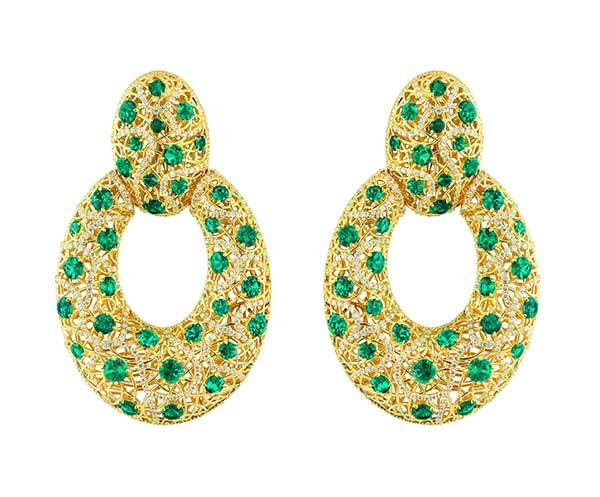 Rafka earrings with emeralds and diamonds