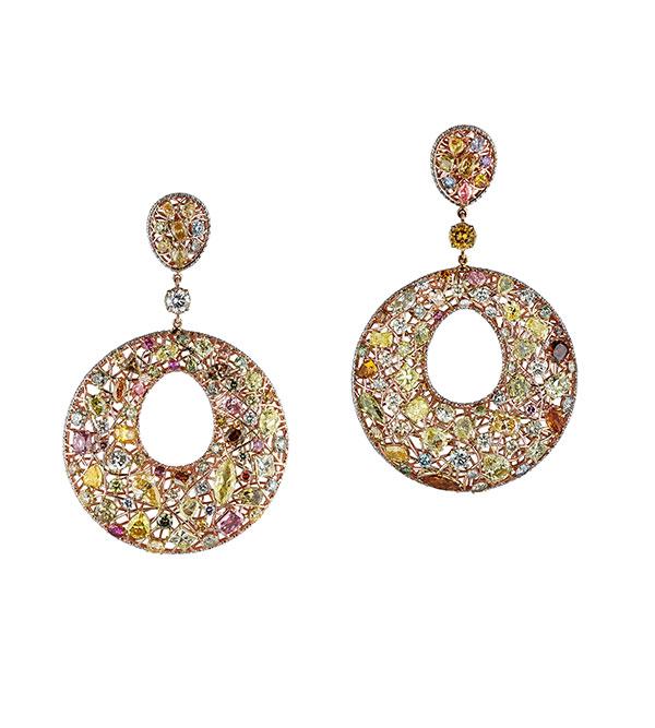 Rafka multi colored diamond hoops