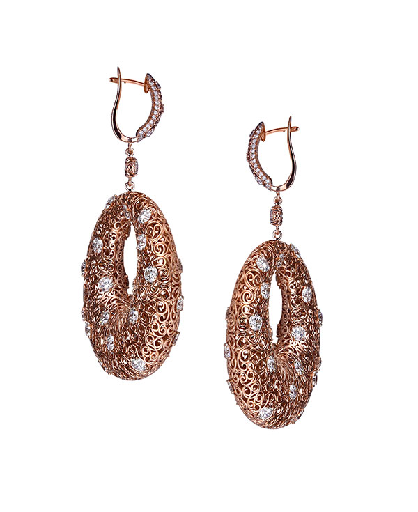 Rafka rose gold hoops with diamonds