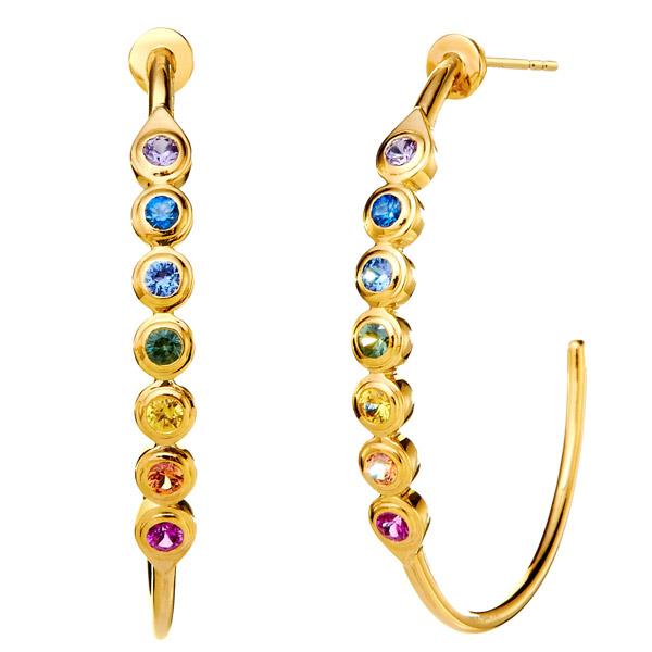 Syna rainbow sapphire hoops