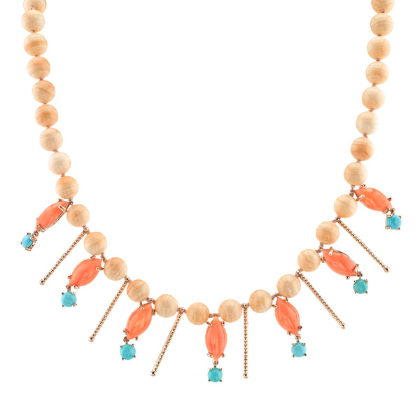 Terra Mea conch pearl and turquoise necklace