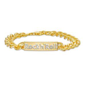 Elvis Presley Collection Men's 1_4 CT. T.W. Diamond _Rock 'n' Roll_ ID Bracelet in 10K Gold - 8.75_ $4,249.00
