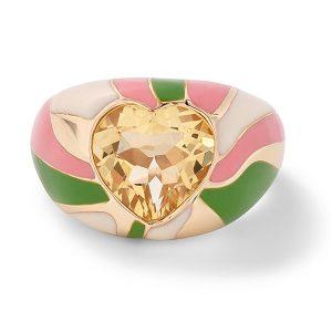 Alison Lou Groovy heart swirl signet ring