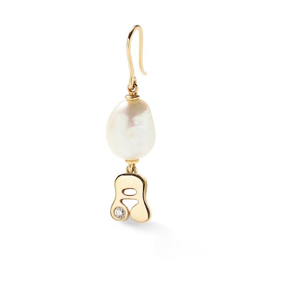 Alison Lou Pearl Letter earring