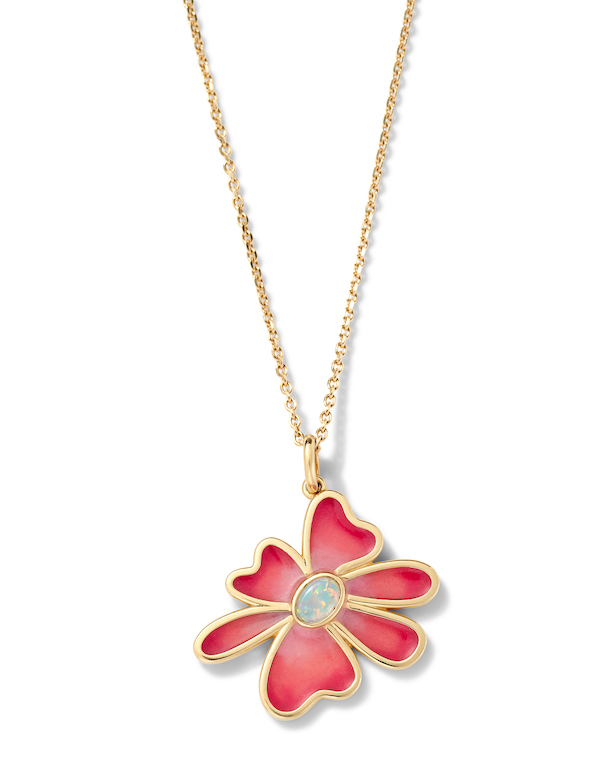 Alison Lou flower opal necklace