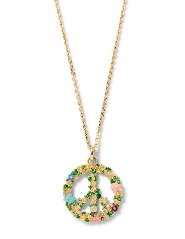 Alison Lou necklace peace sign floral