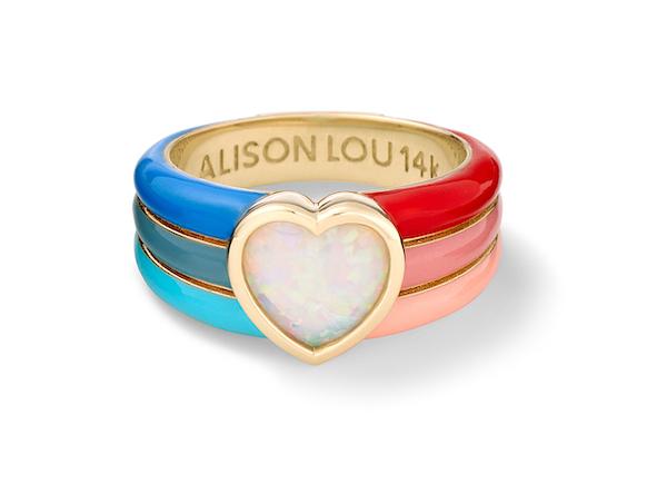 Alison Lou rainbow heart opal
