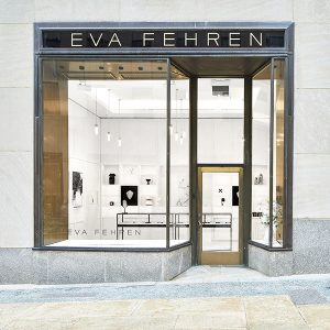The Eva Fehren store at Rock Center highlights the sharp, graphic lines of the jewelry brand.