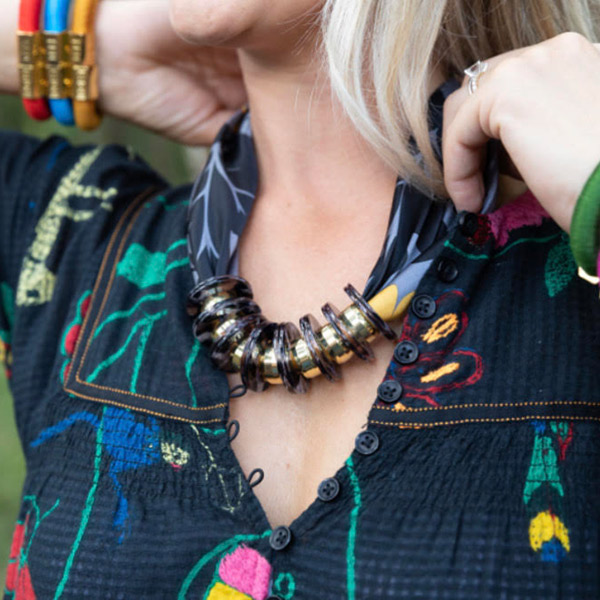 Holst + Lee seeks to innovates using unique materials such as colorful climbing rope, metallic thread, brass findings, raffia, leather tassels, and her now signature magnetic clasp.