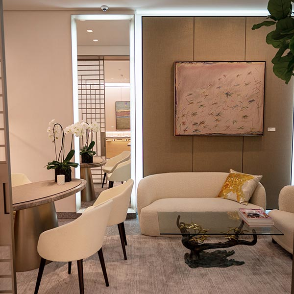 The private shopping room furnished with midcentury modern pieces inspired by the Yurman family personal collections