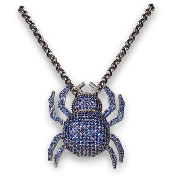 Jane Berg sapphire spider necklace