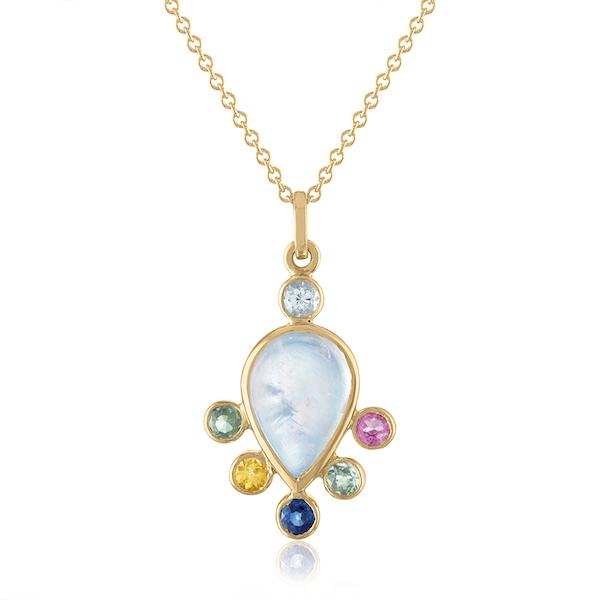 Loriann moonstone pendant with sapphires