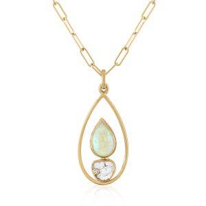 Loriann opal diamond slice pendant