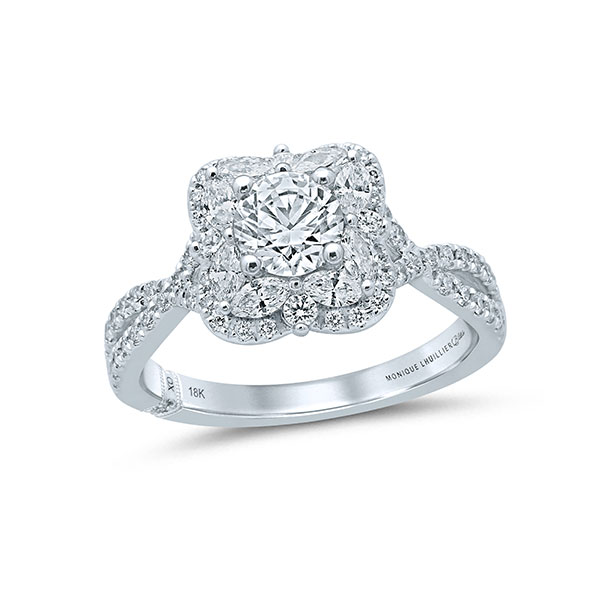 Monique Lhuillier engagemetn ring with-round and marquise diamonds
