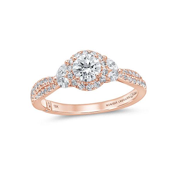 Monique Lhuillier round diamond engagement ring