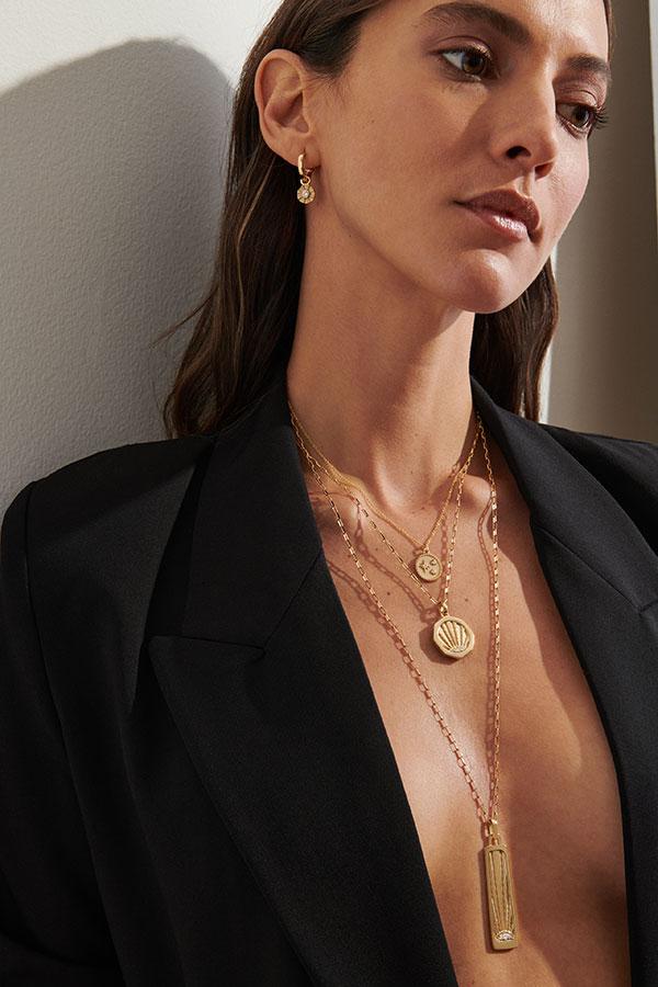 Pamela Zamore talisman necklaces layered