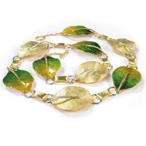 Vendorafa foglie green enamel necklace