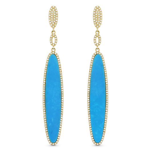 Stiletto drop earrings in 14k gold with reconstituted turquoise and diamonds from Madison L Jewelry