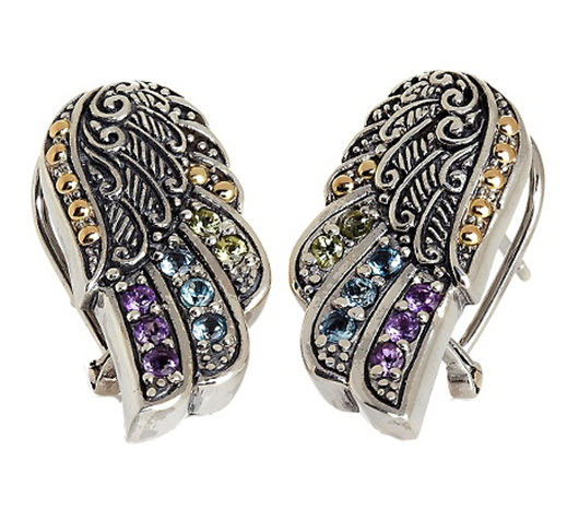 Robert Manse Designs Wings of Love earrings in silver with gemstones