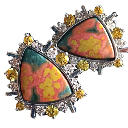 Laura Pierson Ocean Jasper stud earrings with diamonds and yellow sapphires