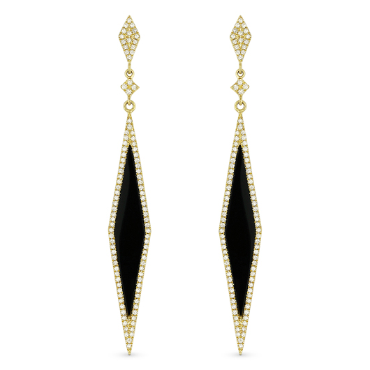 Stiletto drop earrings from Madison L in 14k gold with onyx and diamonds