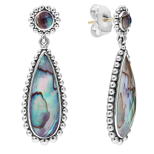 Lagos silver and abalone earrings