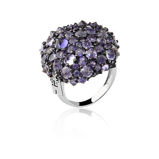 Inverted amethyst ring from the Fause Haten jewelry collection from Guilherme Duque
