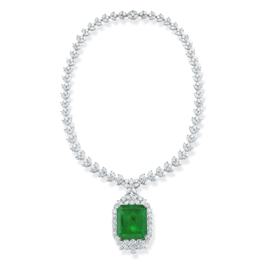 One-of-a-kind Colombian emerald and diamond necklace from Takat