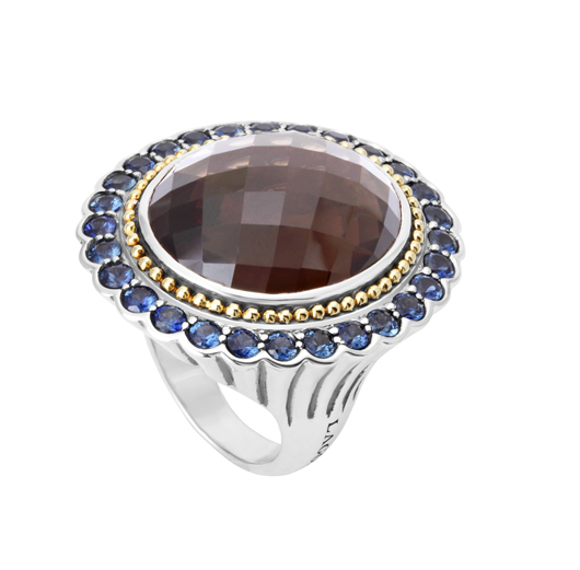 Lagos ring in silver with smoky quartz and sapphires