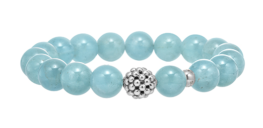 Aquamarine beaded bracelet with silver from Lagos
