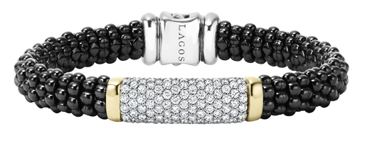 Lagos Black Ceramic Caviar bracelet with diamonds