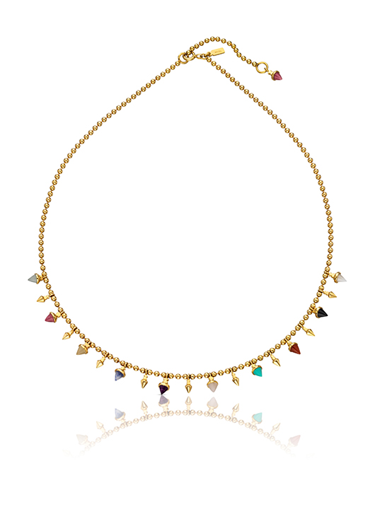Necklace in 18k gold vermeil with gemstones, $420
