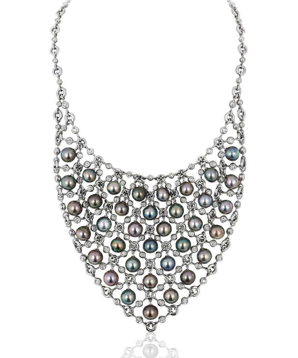 Andreoli pearl and diamond bib necklace
