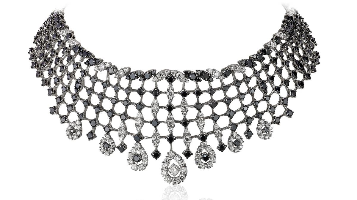 Andreoli black and white diamond choker necklace