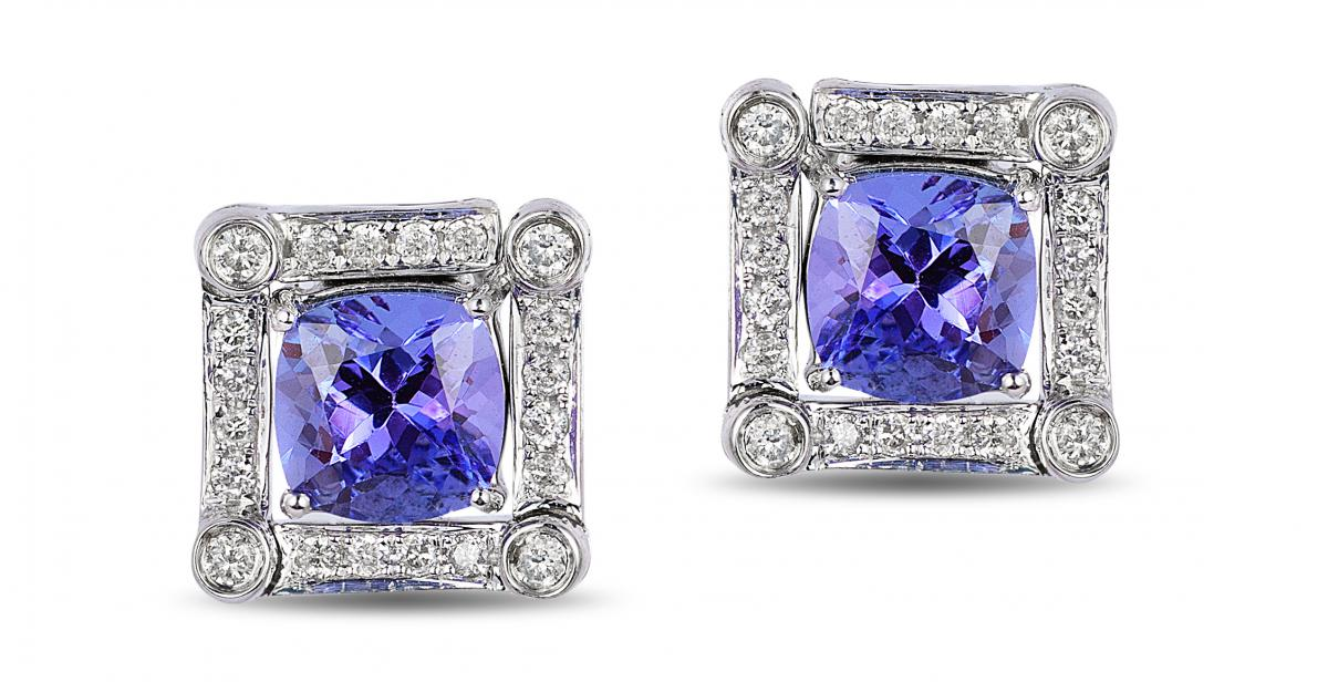 EFFY tanzanite collection framed stud earrings