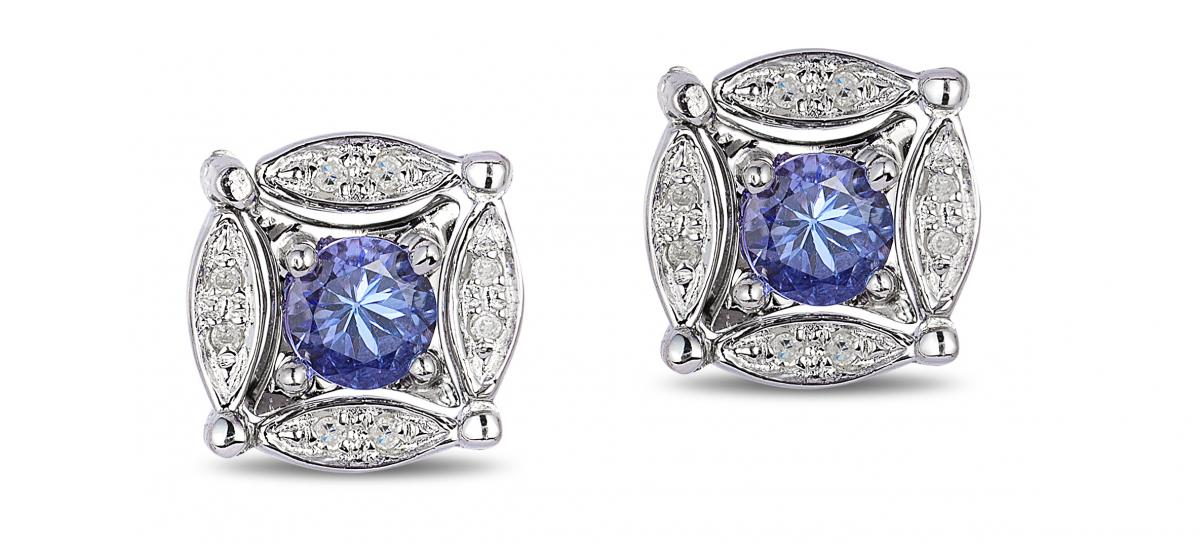 EFFY tanzanite and diamond stud earrings