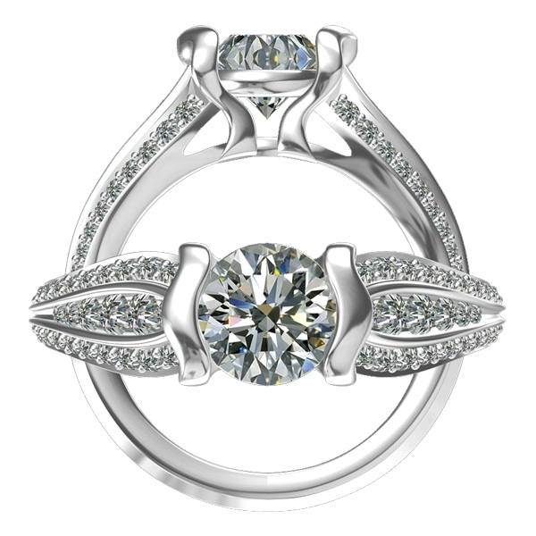 Harout R three-row diamond engagement ring